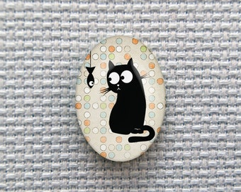 Magnetic Black Cat Needle Minder for Cross Stitch, Embroidery, & Needlecrafts (18mmx25mm with Strong Magnet)