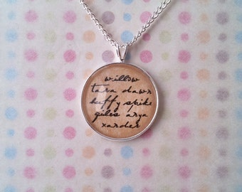 Buffy The Vampire Slayer Names Necklace