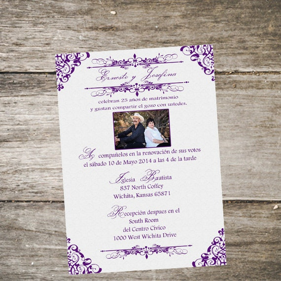 Items similar to spanish vow renewal invitation o spanish for Wedding invitations in spanish etsy