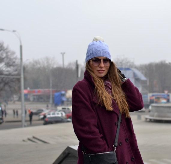 Blue Hat with Pom Pom - Fur Pom Pom