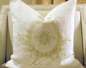 French Pillow French Bee Linen Pillow Beautiful Cottage Chic Throw Accent Pillow