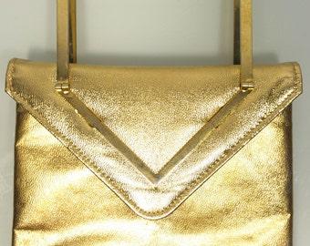 FREE  SHIPPING    1950's Gold Lame Handbag