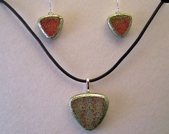 Christmas Candy Inspired Glass Triangle Pendant and Earrings Set
