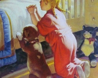 Vintage Embossed CALENDAR ART PRINT Girl and Puppy Praying