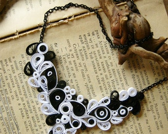 1st wedding anniversary gift- Katie, gothic wedding gift, Origami necklace, Black and White necklace, Gothic necklace