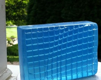 """Soap  """"  Dark  Blue  """"   Weight  5.0 Oz. With  Almond Oil,  Present,  Gift For Men, Clear Soap, With Vegetable Glycerin And Vit. E"""