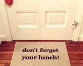 Don't Forget Your Lunch! Door Mat, Decorative Doormat, Area Rug // Hand Painted 18x30 by Be There in Five, Kids Decor