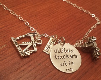 Hand Stamped-personalized-Oil Rig-oilfield necklace-Oilfield trucker's wife-oilfield jewelry-trucker's wife necklace-semi necklace-truck