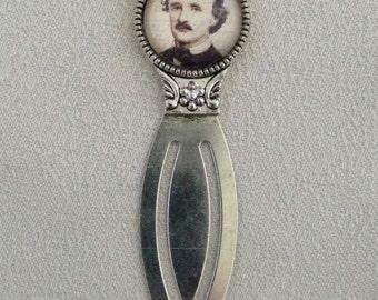 Edgar Allan Poe Portrait Antique Silver Bookmark