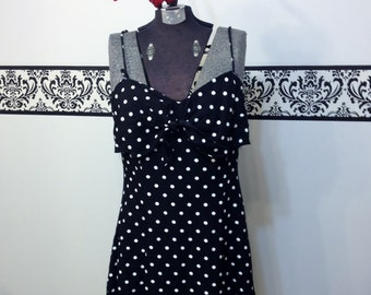 80's does 50's Black and White Polka Dot Pin Up Sundress by Roberta, Vintage Bombshell Polka Dot Day Dress Size Medium