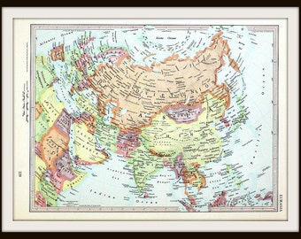 Eurasia Map, Europe, Asia, Soviet Union, Vintage Collectible 1962 Map, Antique Historical Map