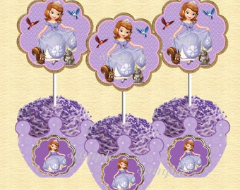 Sofia the First Cupcake toppers and wrappers  INSTANT DOWNLOAD Printable files for Birthday Party Matches Sofia invitation