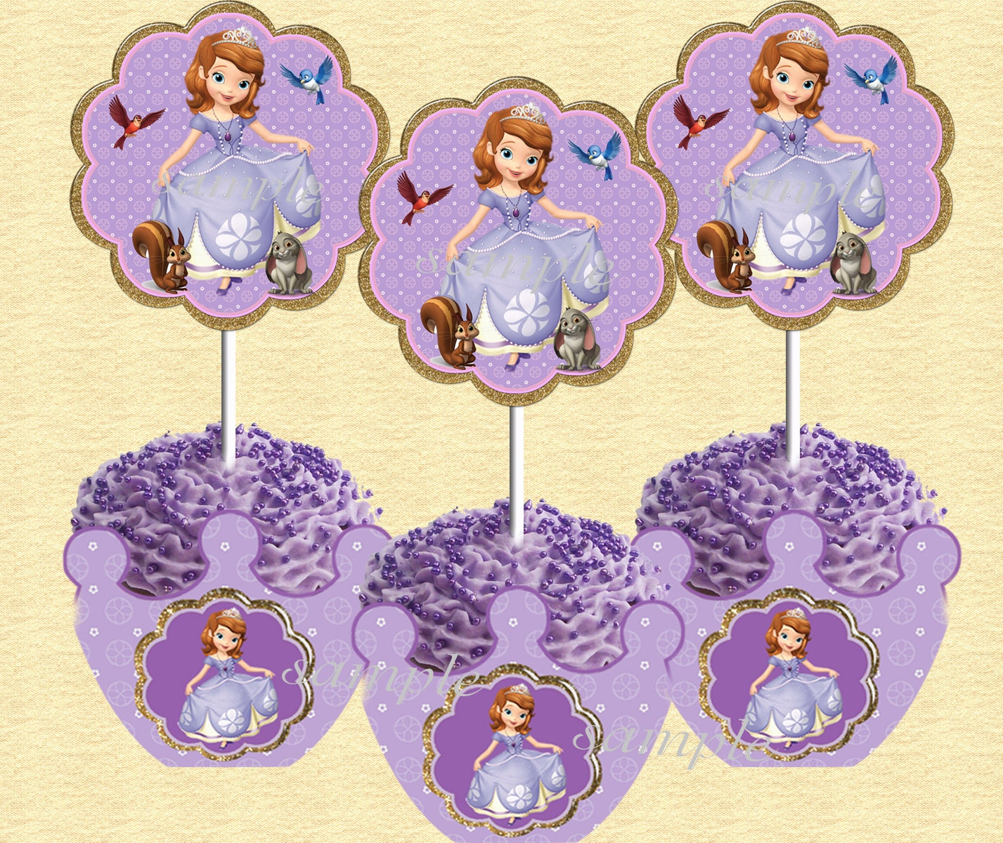 Sofia the First Cupcake toppers and wrappers by LetsPartyShoppe