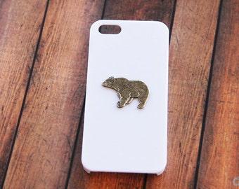 iPhone X Case iPhone 8 Case White Case Bear Case White  Case iPhone 7 Cover Silver Bear White  Cover Bear Case Animal iPhone 6