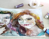 Custom couple Portrait in Watercolors - Couple Portrait Illustration - Watercolor Painting - Original Painting