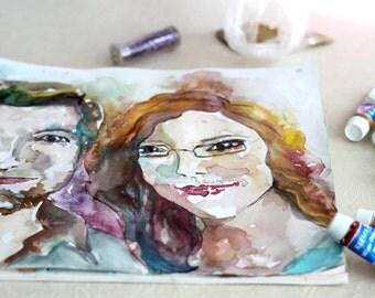 Custom couple Portrait in Watercolors - Couple Portrait Illustration - Watercolor Painting - Original Painting