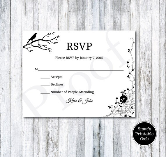 Halloween Wedding RSVP Cards Template DIY Printable Gothic – Rsvp Card Template Word