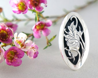 SALE! Floral ring, sterling silver ring, unique ring, large ring, romantic jewelry, nature jewelry, oxidized ring, ring size 7 1/2