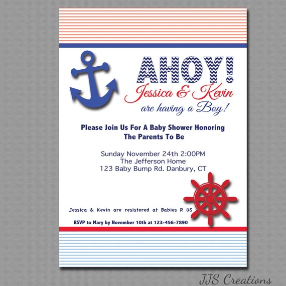 Nautical, Ahoy , Its a Boy Baby shower Invitation, Printable File.