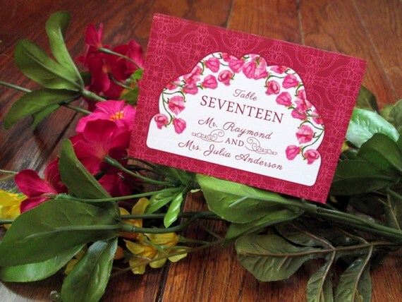 Sweet Pea Floral Wedding Place Card – Pink, Yellow – Customized - Available in Sets/ Quantities of 25+