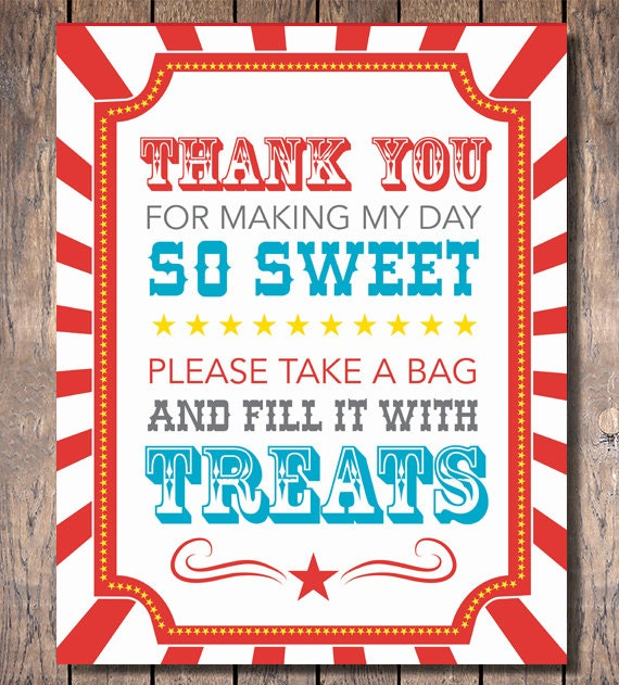 Carnival Party Candy Buffet Sign Instant Download
