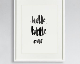 "Hand lettered baby's nursery wall art, ""hello little one"" print."