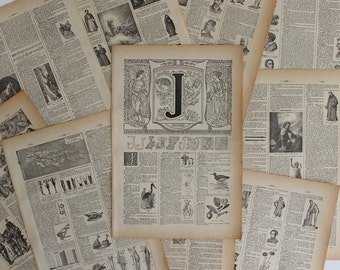 A4 1922 CALLIGRAPHY Alphabet Letter J Illustrative Litho Print French Larousse // FREE SHIPPING // B3517