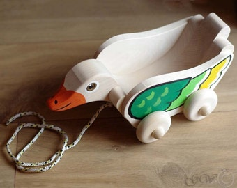 Wooden Duck Pull Toy, Wooden Duck Cart, Wood Duckling Toy for a Children Z411
