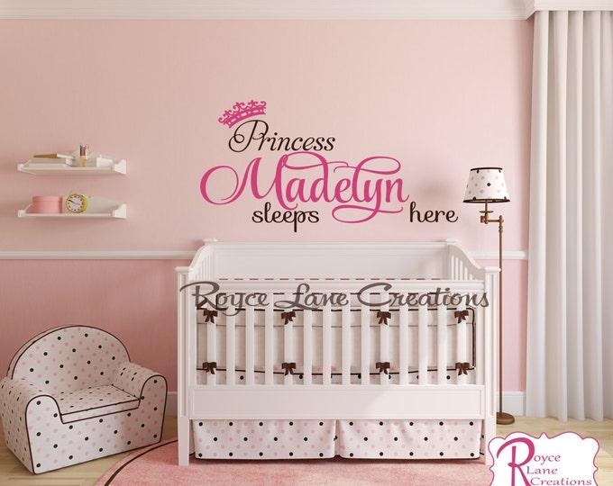 Nursery Name Decal-Princess Sleeps Here Princess Decal with Princess Crown N15 Nursery Princess Wall Decal- Nursery Art Nursery Decor