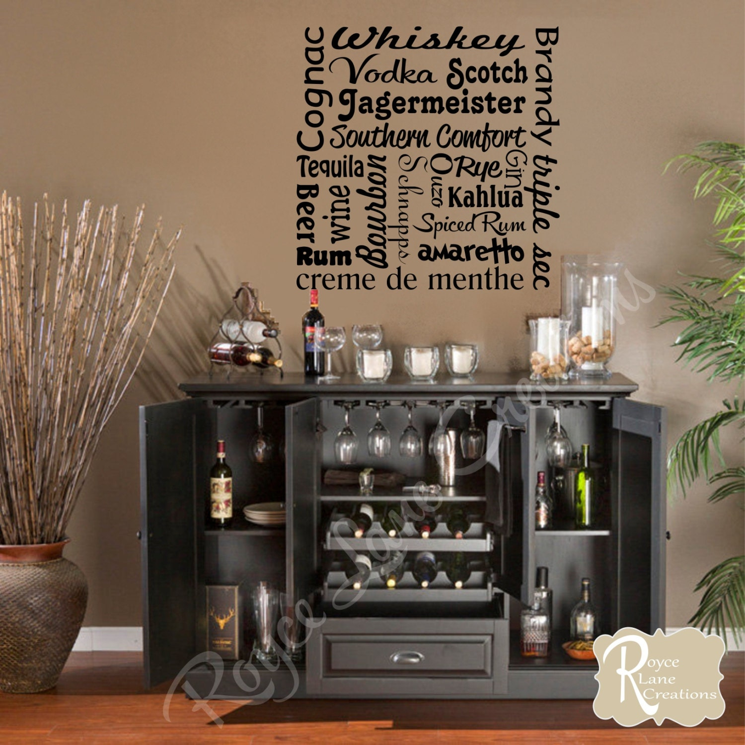 Bar wall decal liquor names word art bar wall decor bar art for Lounge wall decor ideas