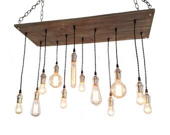 Urban Chandelier -  Industrial Lighting, 12 Pendant Edison Bulb, Beach House Light Fixture, Rustic Lighting