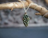 Glass pendant necklace - bronze green - Christmas pine cone - wearable art - green necklace - cone pendant - statement necklace