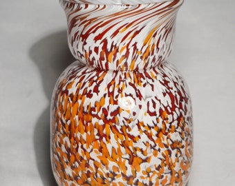 Small Blown Glass Vase in White, Red and Orange