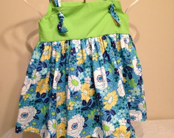 Lime Green and Blue Floral Tie Dress with bloomers Girls size 5