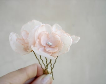 Peach  Wedding  Hair Pins, Small Bridal Flower Headpiece, Wedding Hair Accessories, Bridal Hair Piece