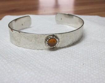 Sterling Silver Hammered Bracelet (adjustable) w/cz