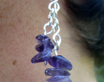 Waterfall Earrings: Amethyst chips and silver-plated copper