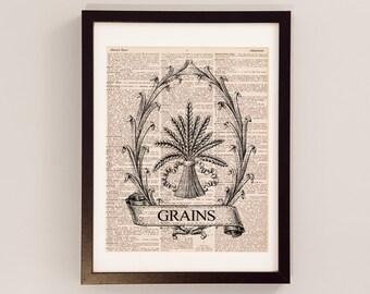 Thanksgiving Harvest Dictionary Art Print - Kitchen Decor - Print on Vintage Dictionary Paper - Thanksgiving Print - Harvest Grains