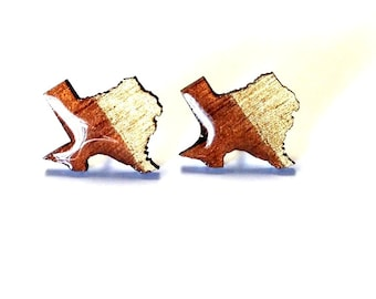 Gold Texas Studs, Texas State Earring Studs, Wood Earring Studs, Wood Laser earring, Hand painted earring studs, Texas Earrings, Texas Studs