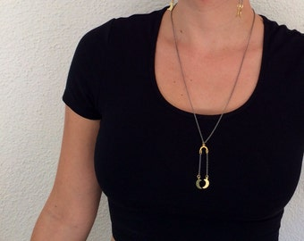 La LUNE Necklace //  Petite Moon Charms on Gunmetal Chain // Boho Hippie Festival Layering Necklace