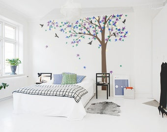 Large Maple Tree  decal, nursery vinyl decal, tree wall decal, Vinyl Wall Decal bird stickers - K024