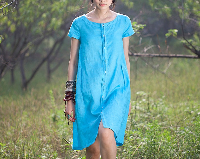 Women dress - Short Sleeve Dress - Front open/Button closure - Summer/autumn dress - Linen dress - Made to order