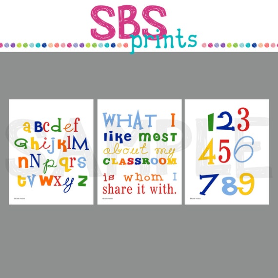 Back to school set 1 classroom wall art digital by sbsprints for Back to school wall decoration