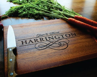 Wood Cutting Board, Personalized Custom Engraved Wedding, Anniversary, Christmas, Housewarming Gift, Established Date, Monogram, Newlywed
