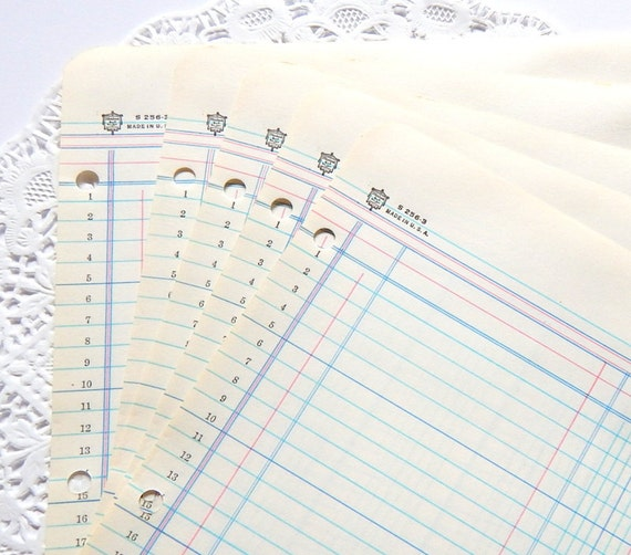 Vintage Ledger Paper. Lined Writing Paper. Accounting Ledger.