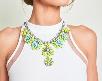 Neon Green Yellow Flowers Chain Bib Necklace