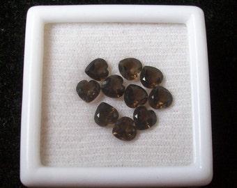 5 mm Natural genuine SMOKEY quartz  heart top cut faceted gemstone......