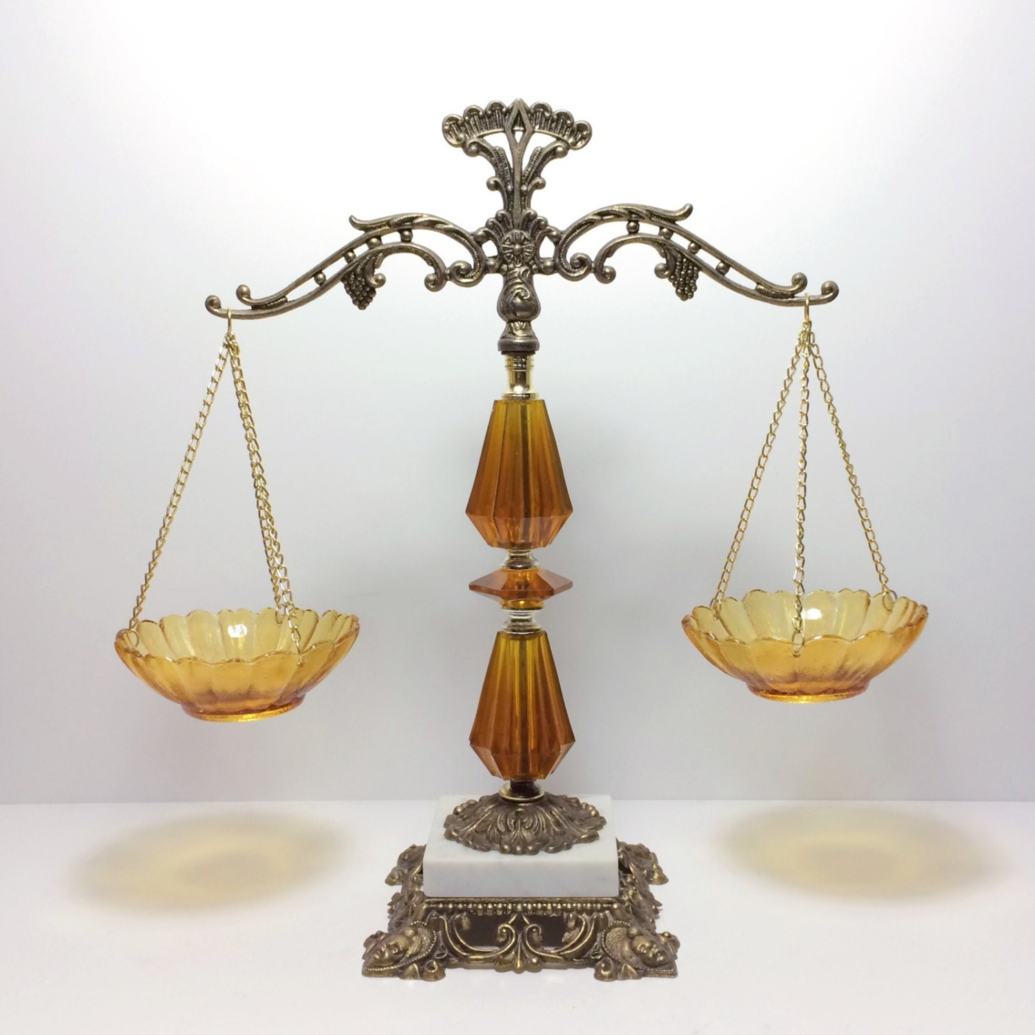 Vintage Brass Scales Of Justice With Amber Glass And Marble