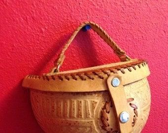 Vintage Coconut Purse, Hand Made