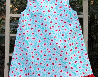 Daisy: Red and White Flower Girl Dress - Size 12 mo. to 6